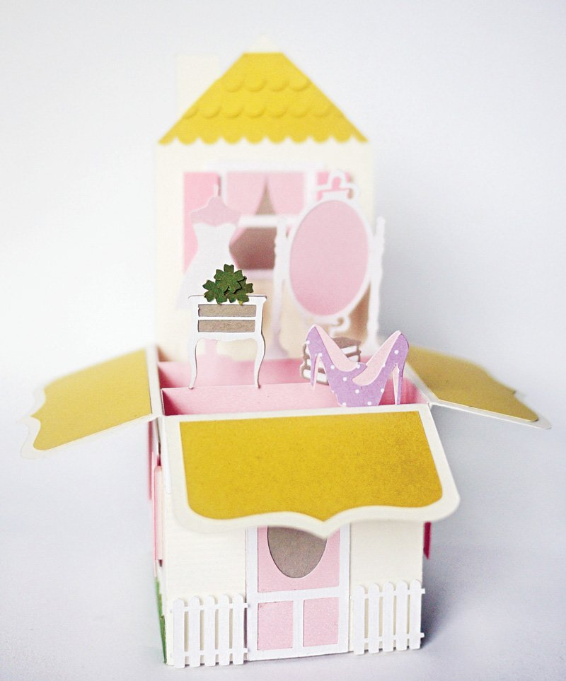 3d popup dollhouse birthday party invitation