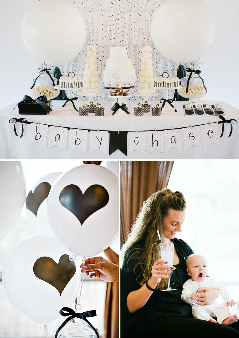 black and white baby shower celebration