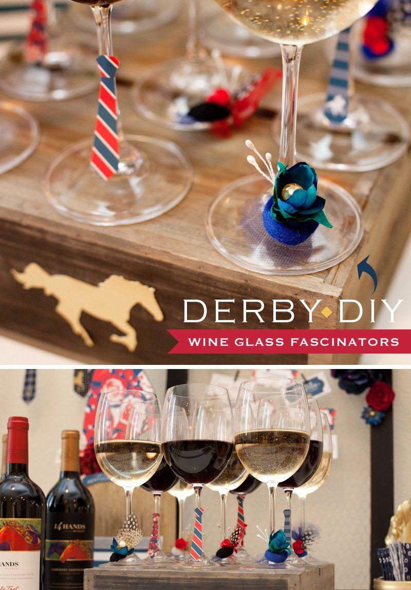 Kentucky Derby Party DIY - Wine Glass Fascinators