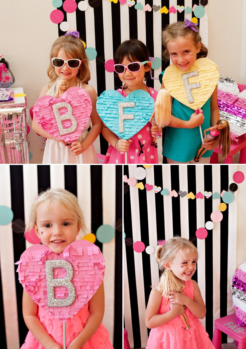 diy barbie party photo booth -hearts and stripes