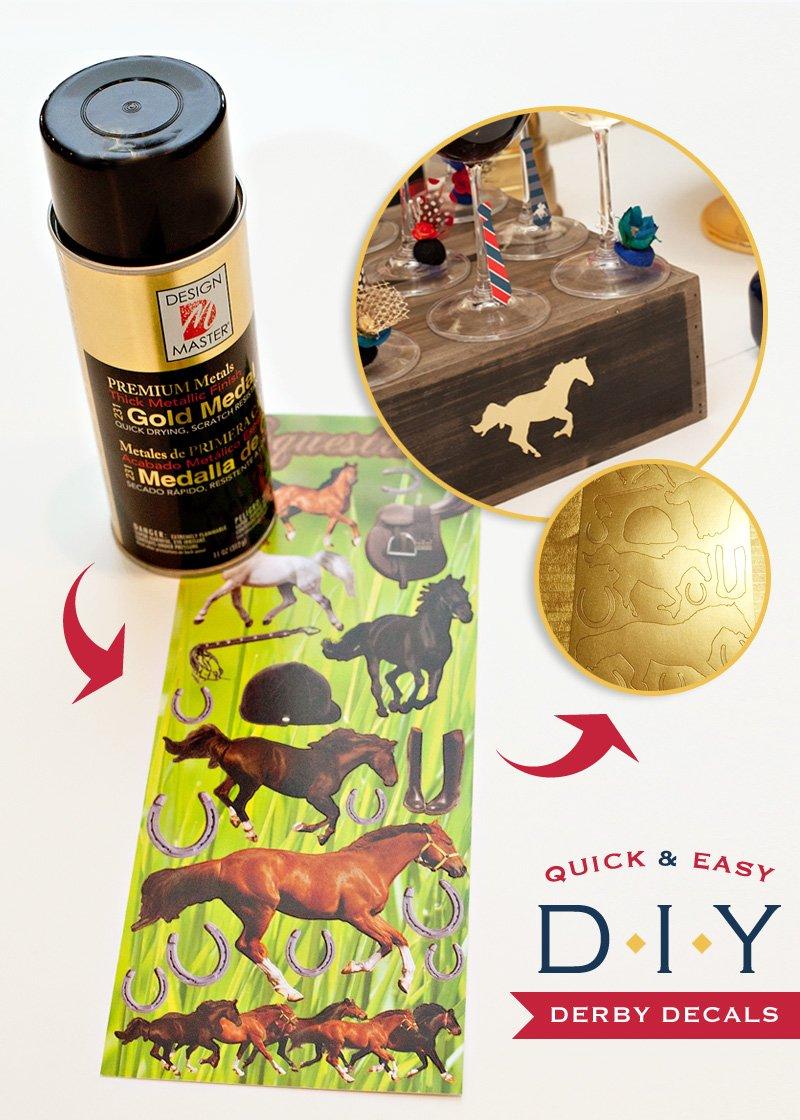 Kentucky Derby Craft - Gold Horse Decals