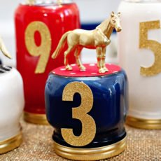 Kentucky Derby Centerpiece - Painted Mason Jars