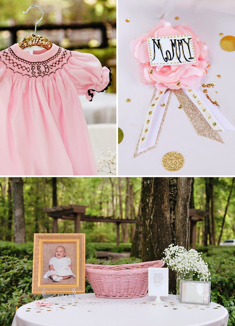 glitzy pink gold baby sprinkle shower hostess with the mostess