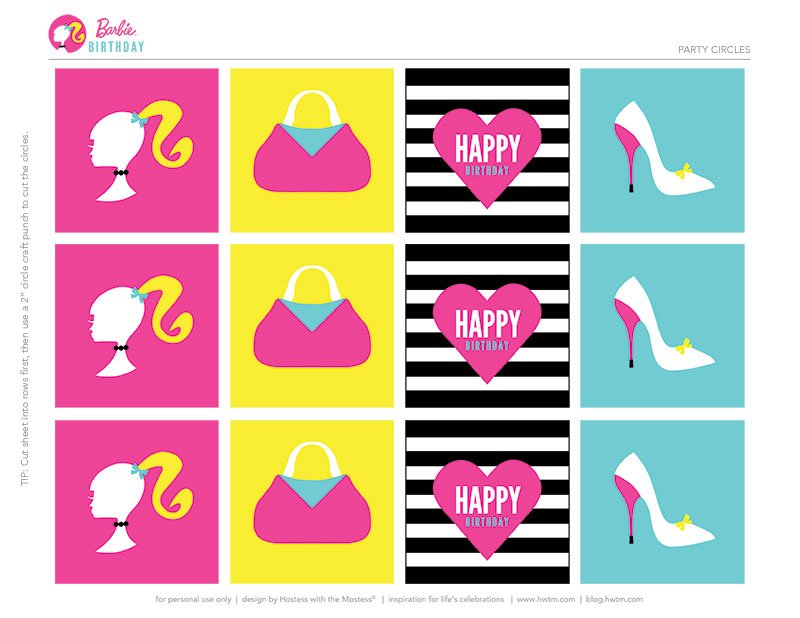 Colorful Barbie STYLE Birthday Party - Free Printables! // Hostess ...