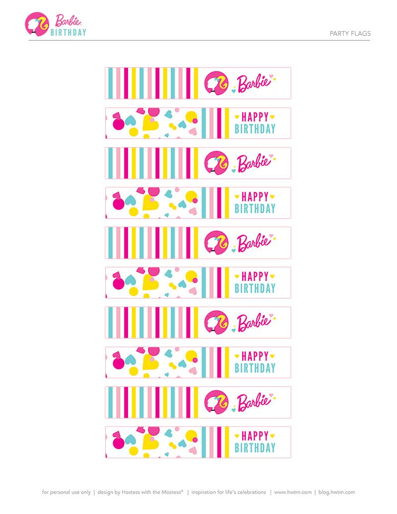 Colorful Barbie Style Birthday Party Free Printables Hostess With The Mostess