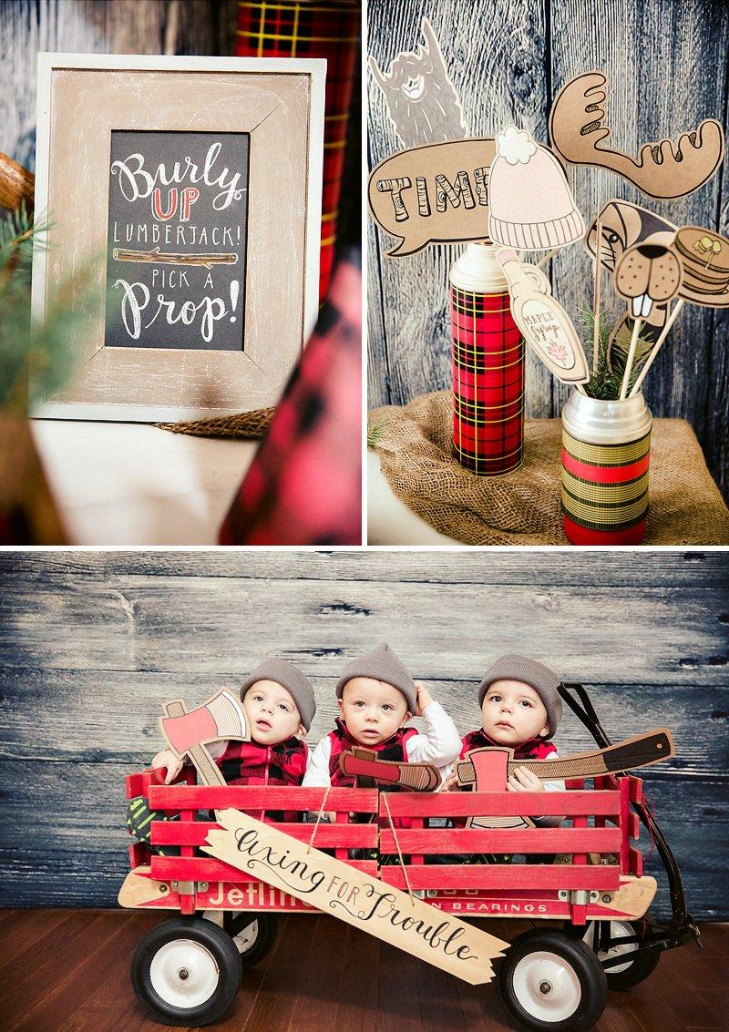 Rustic Amp Burly Lumberjack Bash Triplet First Birthday