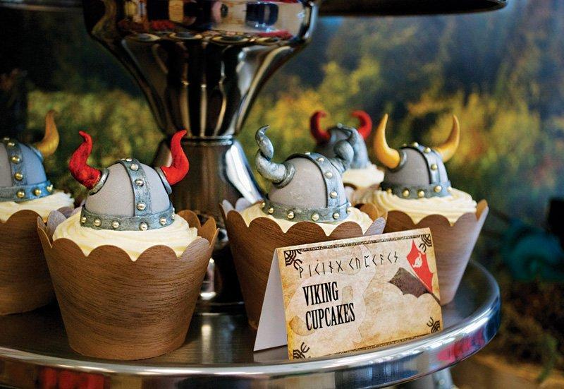 viking helmet cupcakes