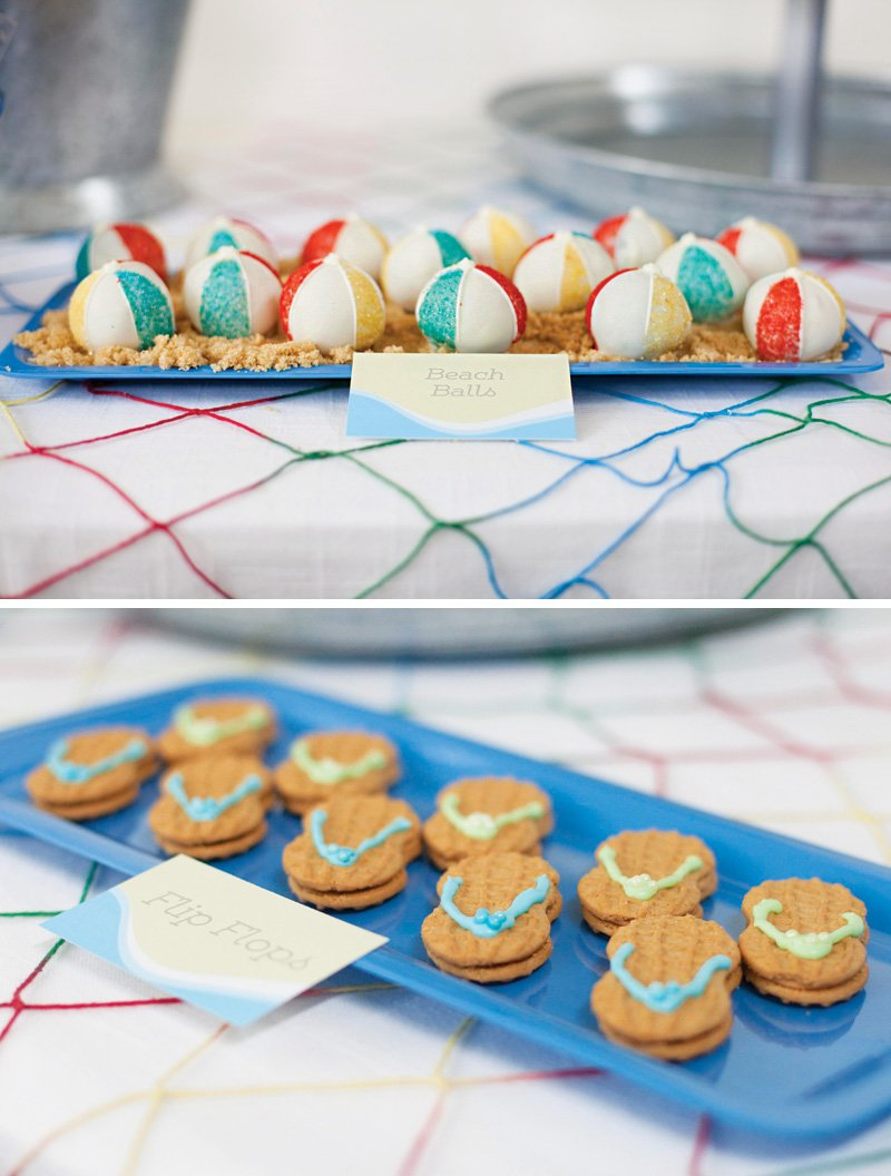 beach ball cake balls and flip flop cookies