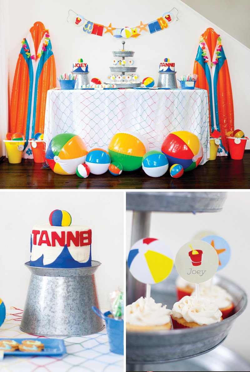 twin's beach bash birthday party dessert table
