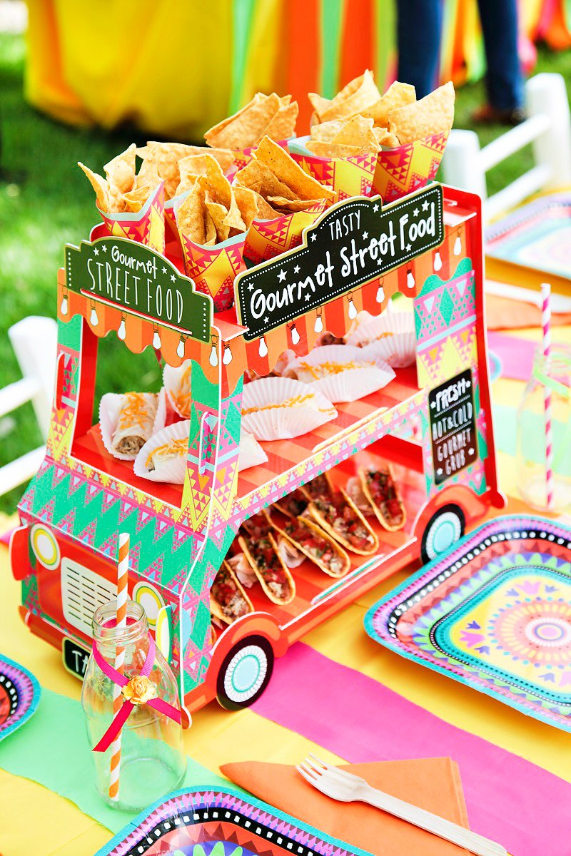 Vibrant Mexican Fiesta Birthday Party Adorable Food Truck Centerpiece Hostess With The