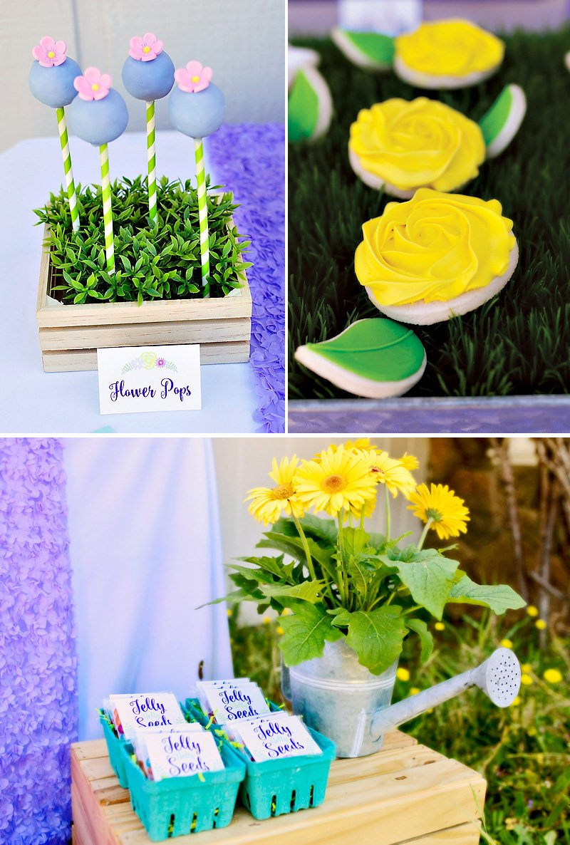 garden party sweets and favors