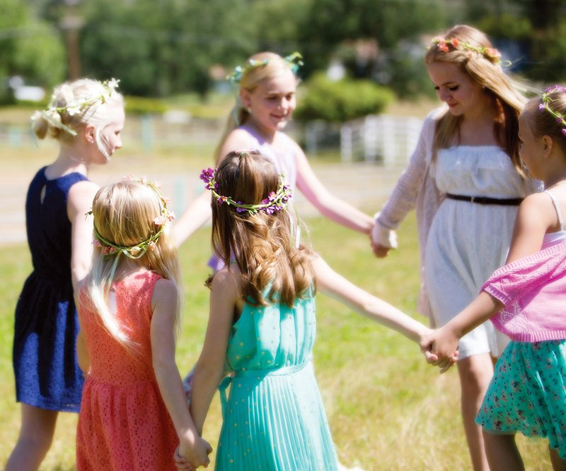 outdoor garden party girls dancing