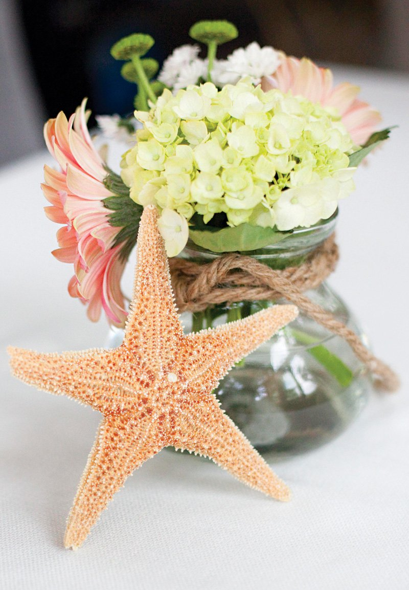 ocean themed starfish centerpieces