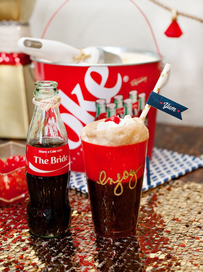 coke floats with custom coca-cola bottles