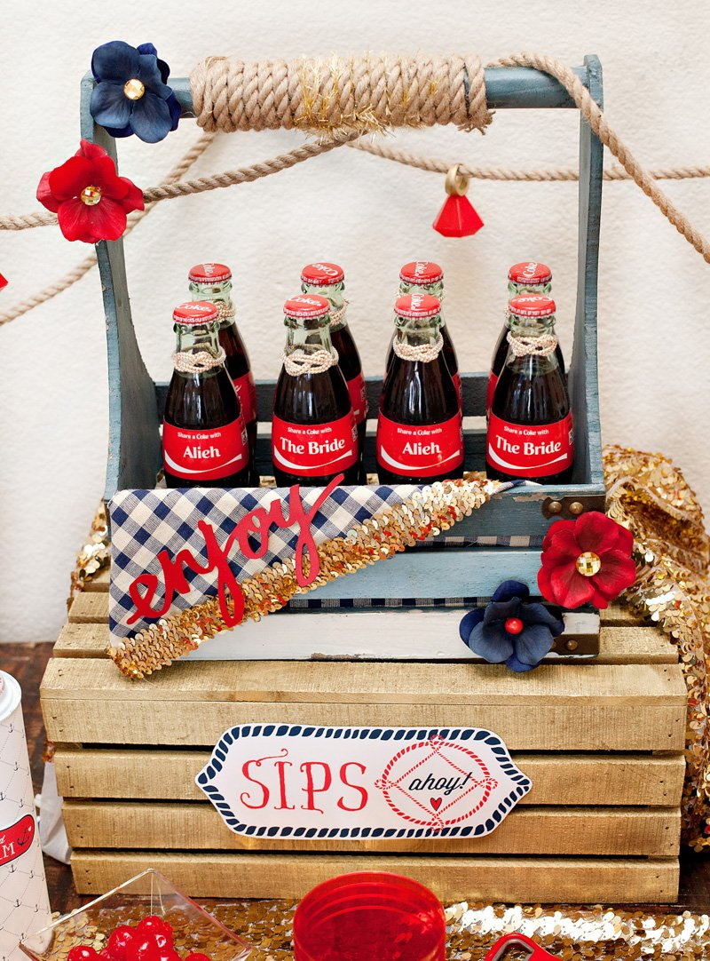 Custom Coke Bottles at Nautical Bridal Shower