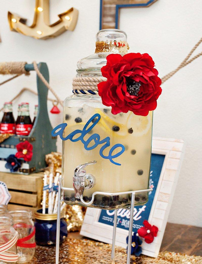 Red White Blue Bridal Shower Drinks