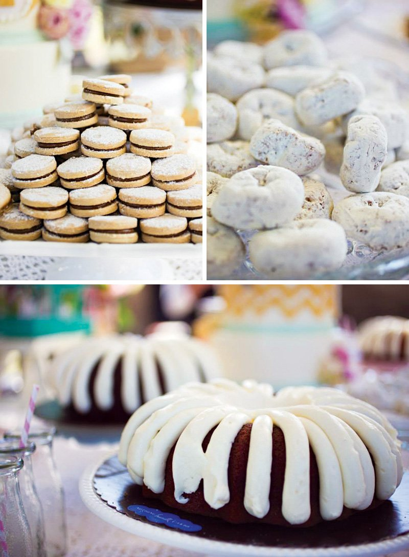 easy birthday party desserts like bundt cakes and powdered doughnuts
