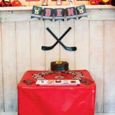 boy's hockey birthday party dessert table