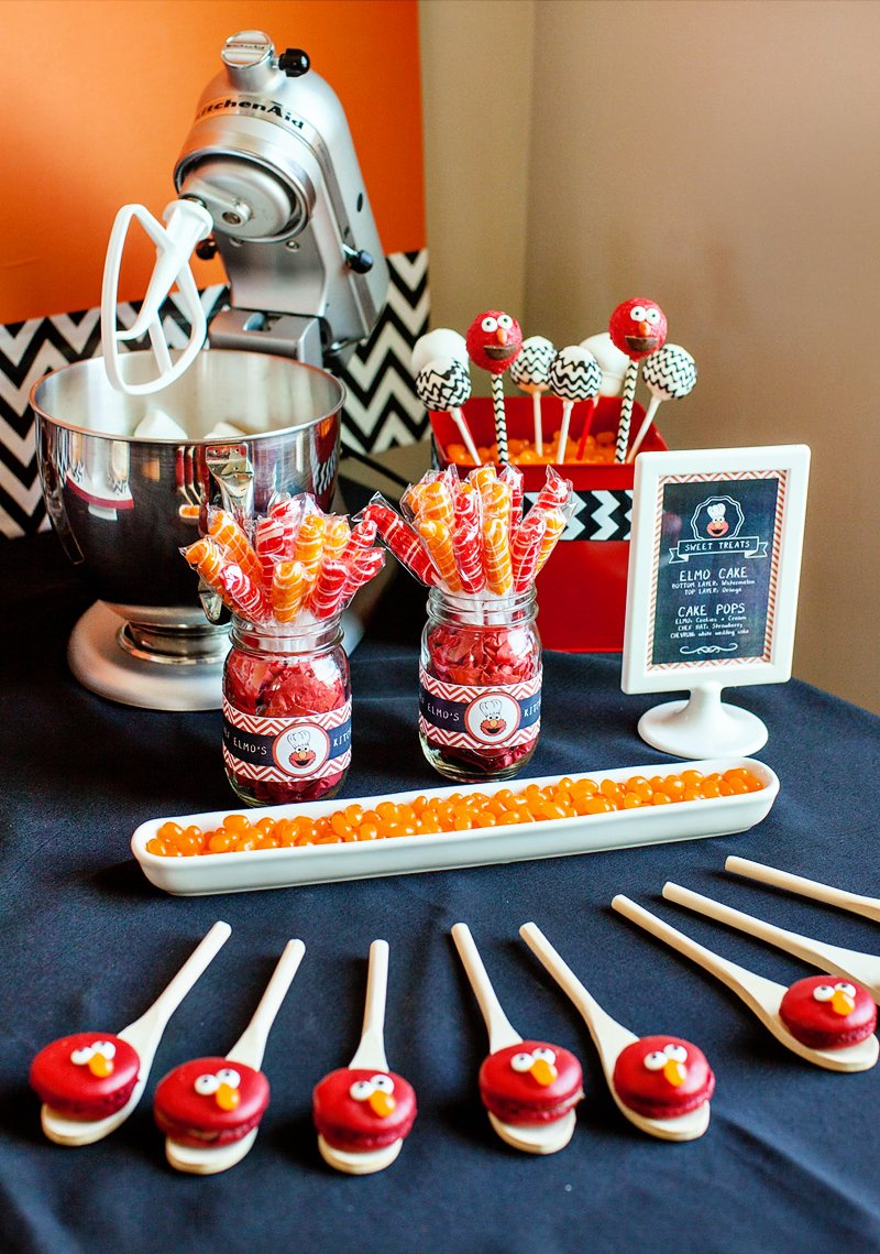 Chef elmo play kitchen inspired birthday party for Chef themed kitchen ideas