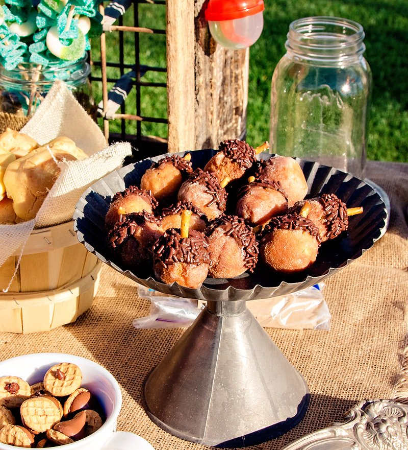 donut hole acorns - camping party