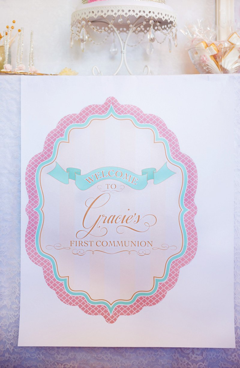 first communion party sign and invitation