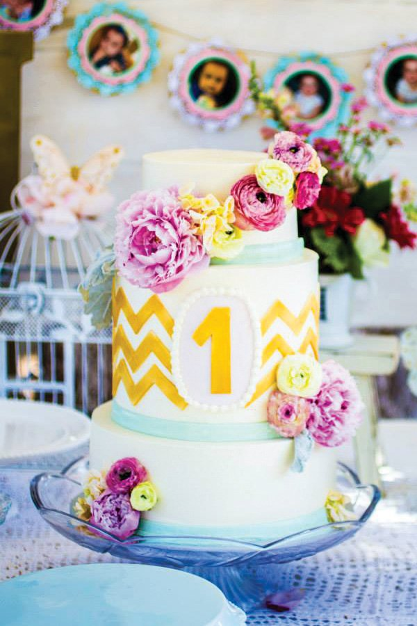 floral chevron birthday cake