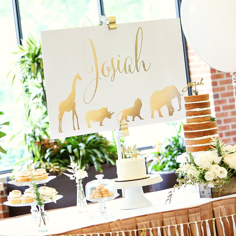 Whimsical Gold Safari First Birthday Party // Hostess With