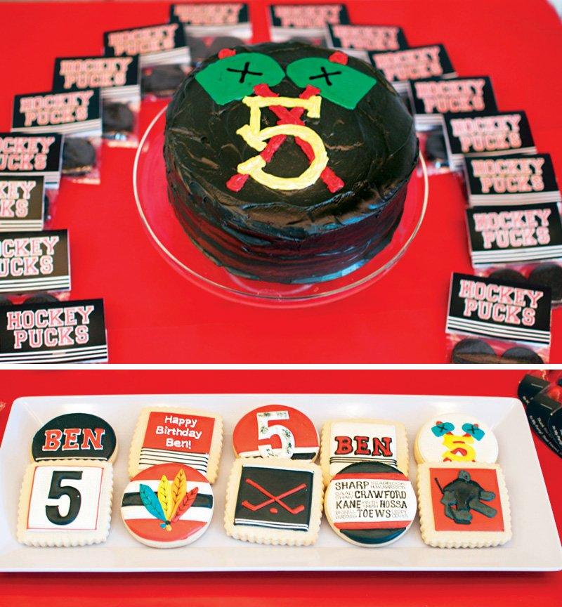 hockey puck shaped birthday cake