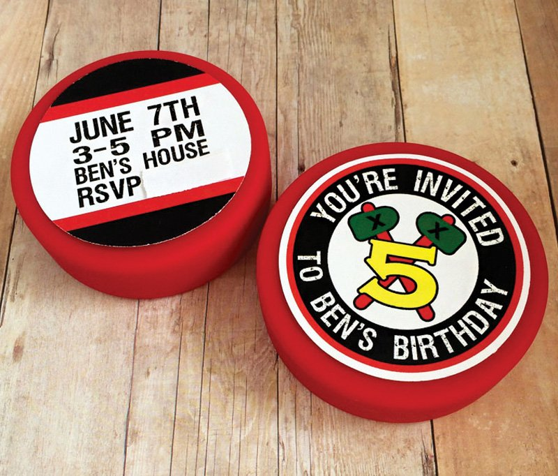 hockey puck birthday party invitation