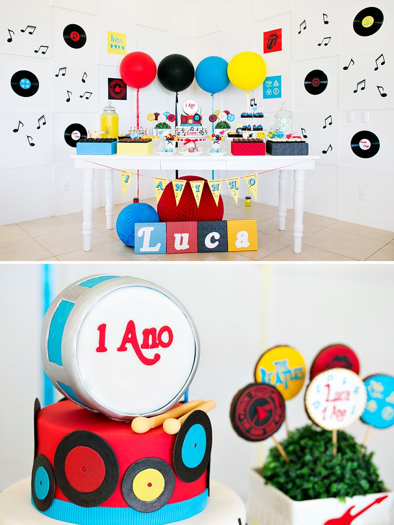 Bright & Classic Rock n\' Roll First Birthday Party // Hostess with ...
