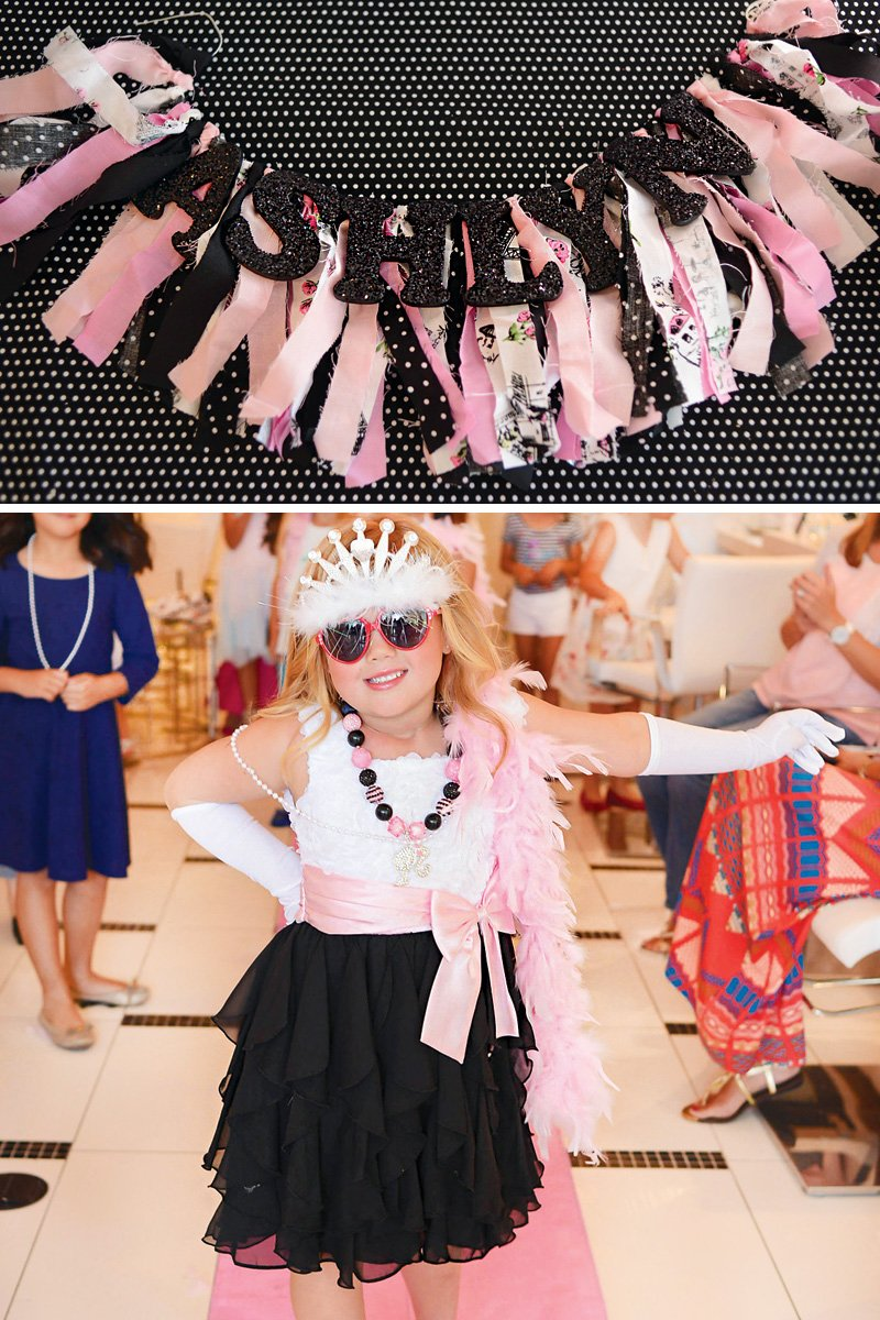pink and black birthday party decorations
