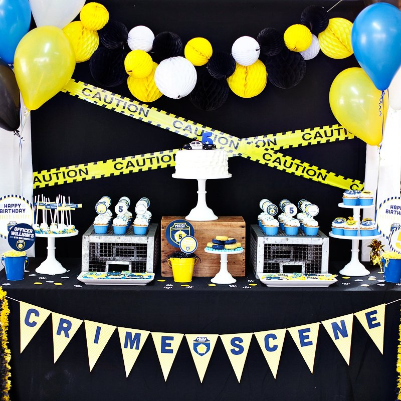 Blue Amp Yellow Policeman Birthday Party Crime Fighters