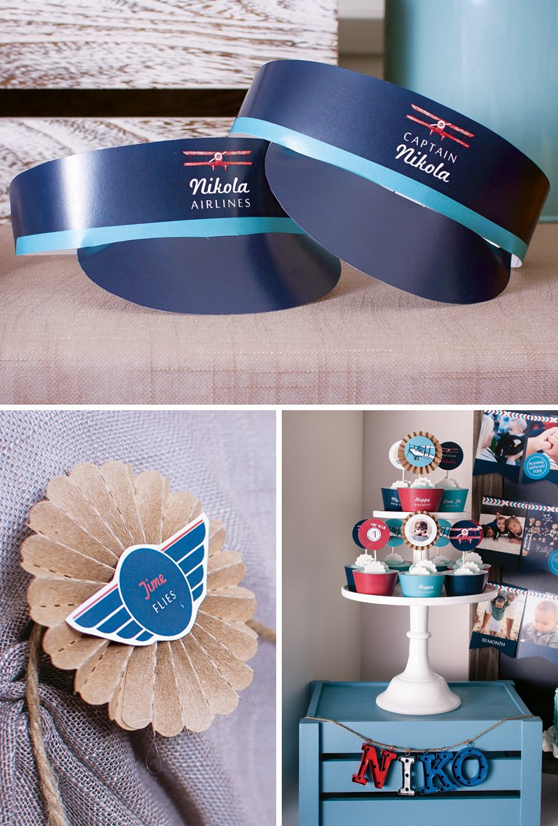 retro plane party printables