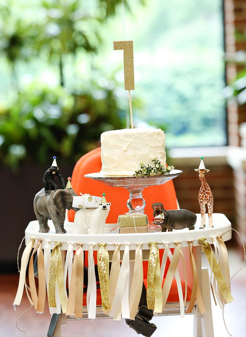 Whimsical Gold Safari First Birthday Party Hostess With