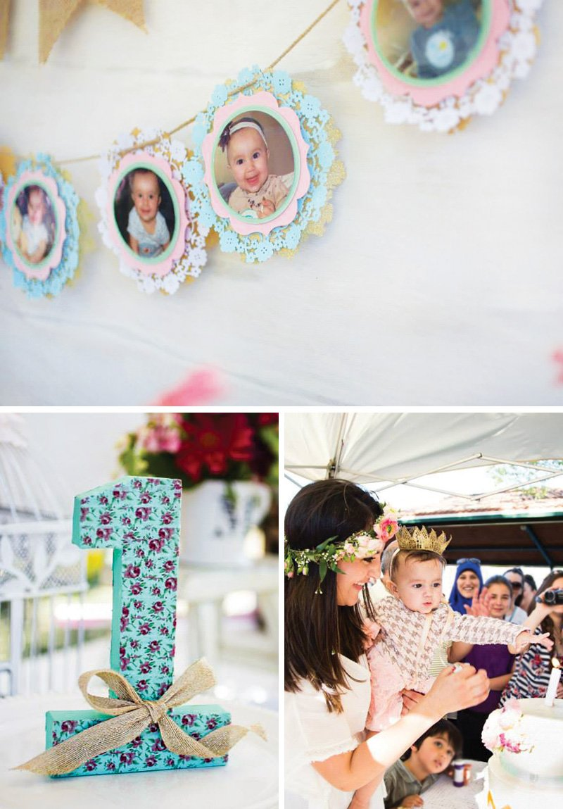 shabby chic first birthday party decor