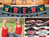 sports themed birthday party with blackhawks colors