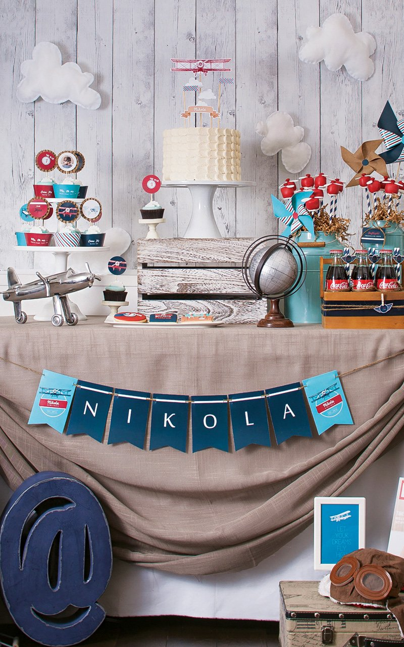 Quot Time Flies Quot Airplane 1st Birthday Party Hostess With
