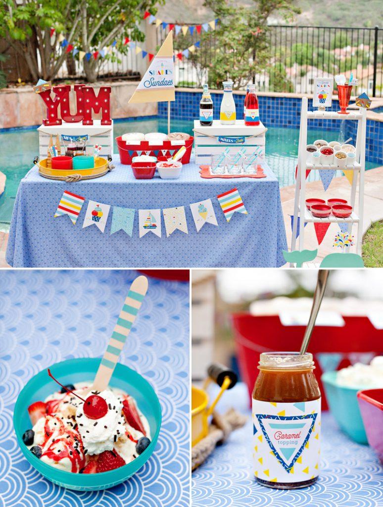 Nautical Ice Cream Sundae Bar Ideas