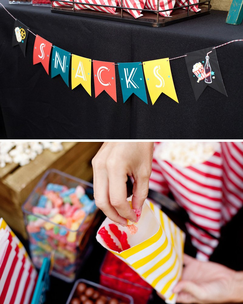 free printable movie night snacks banner
