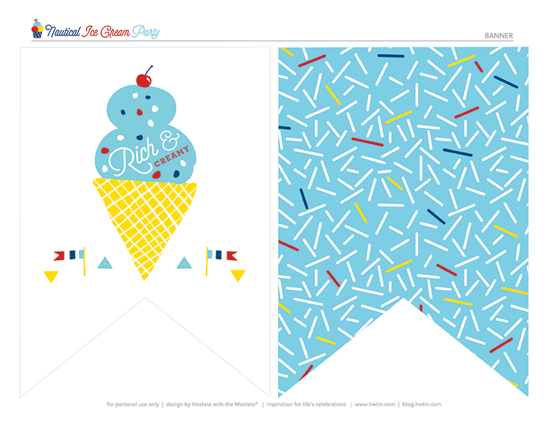 Nautical Ice Cream Party Banner