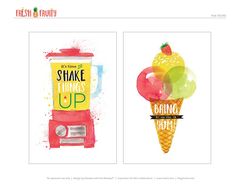 Printable Fruity Milkshakes Signs