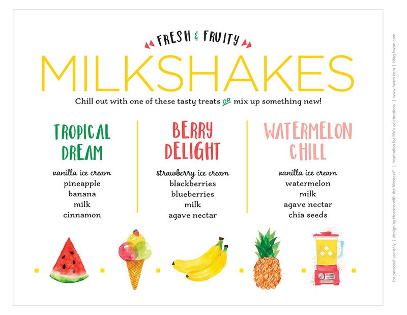 Printable Fruity Milkshakes Menu