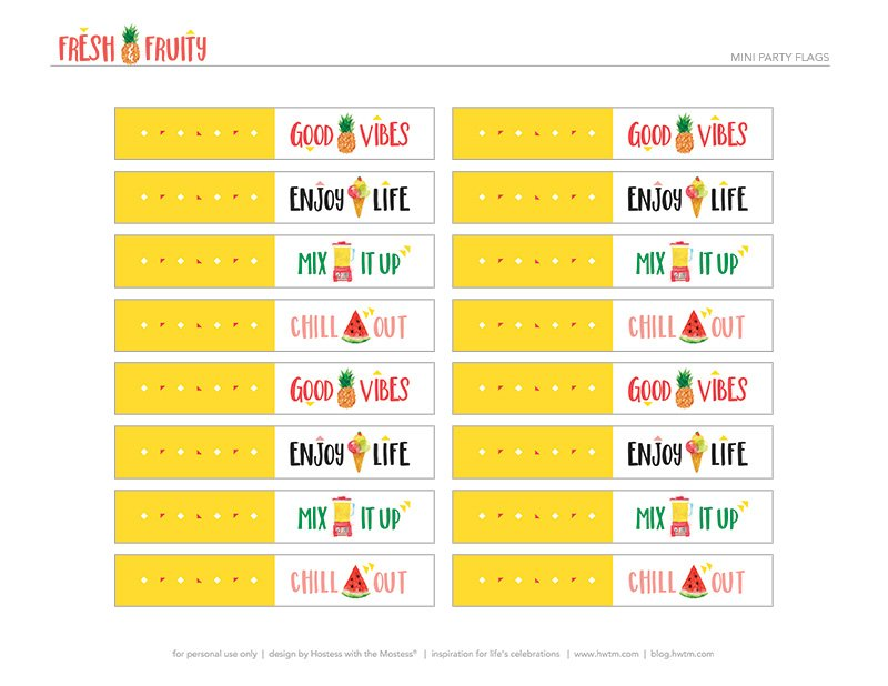 Printable Fruity Party Flags