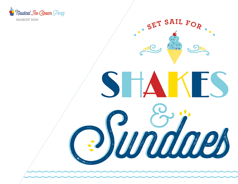 printable nautical ice cream party sign