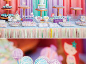 ariel themed birthday party dessert table
