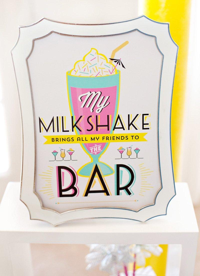 free printable milkshake bar sign
