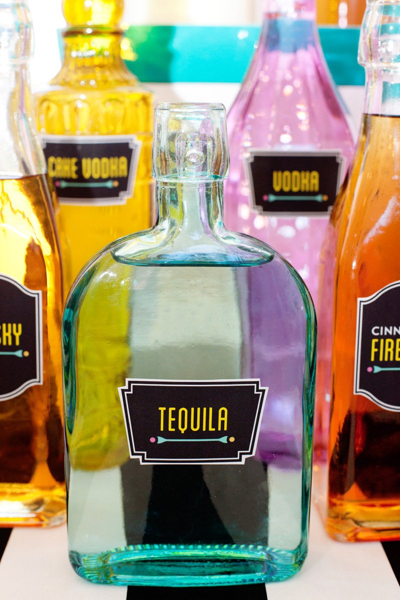 pretty liquor bottles with custom labels
