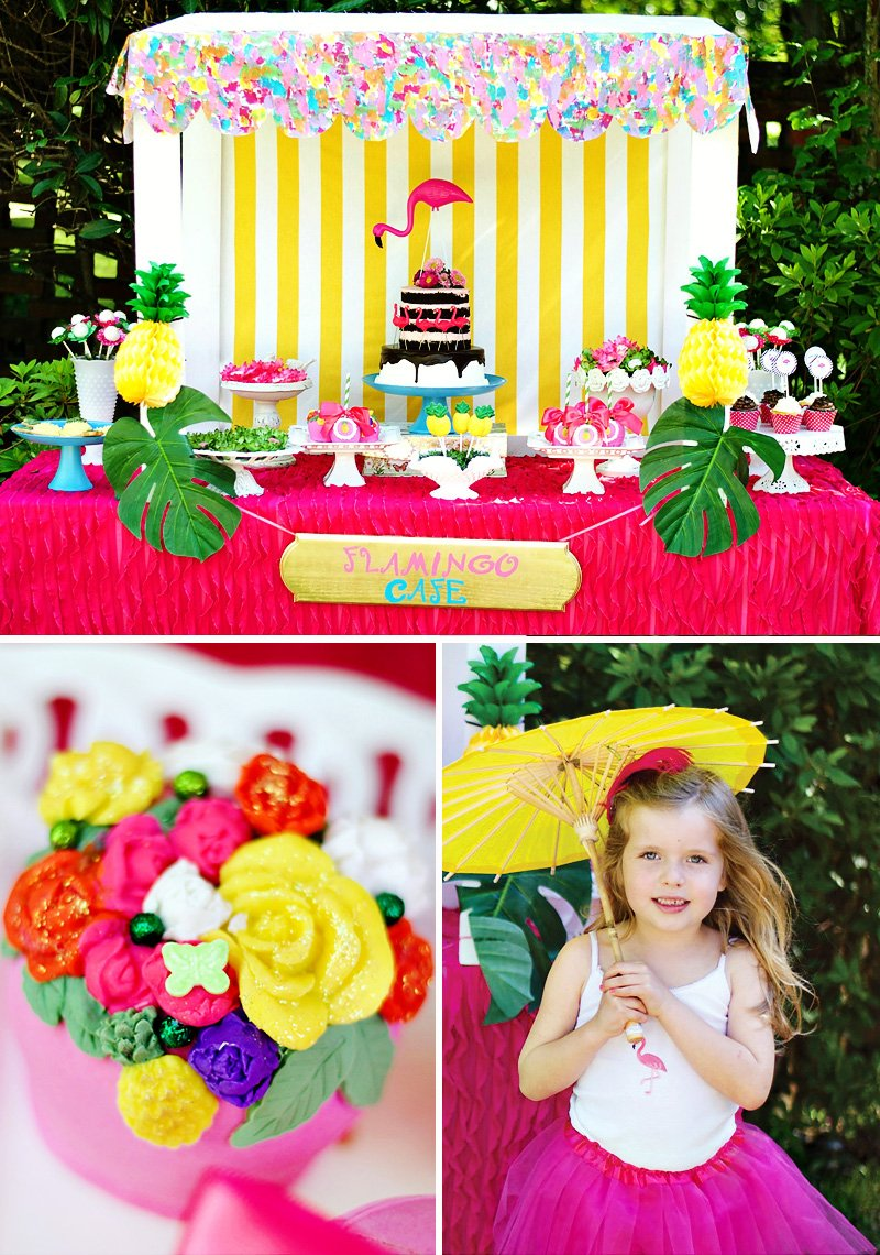 Flamingos and Pineapples Dessert Table