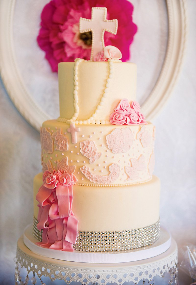 girly pink and white first communion cake