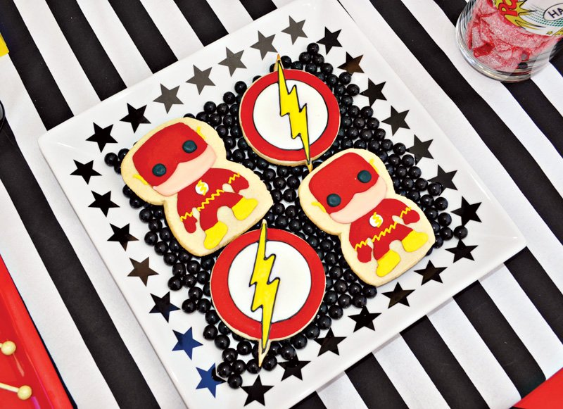 Justice League birthday party cookies